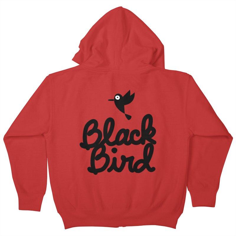 Black Bird Kids Zip-Up Hoody by adrianachionetti's Artist Shop