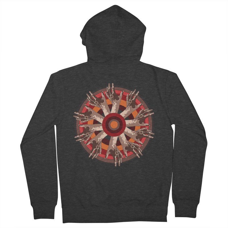 Mandala Hands Women's French Terry Zip-Up Hoody by Adrian Geary's Artist Shop