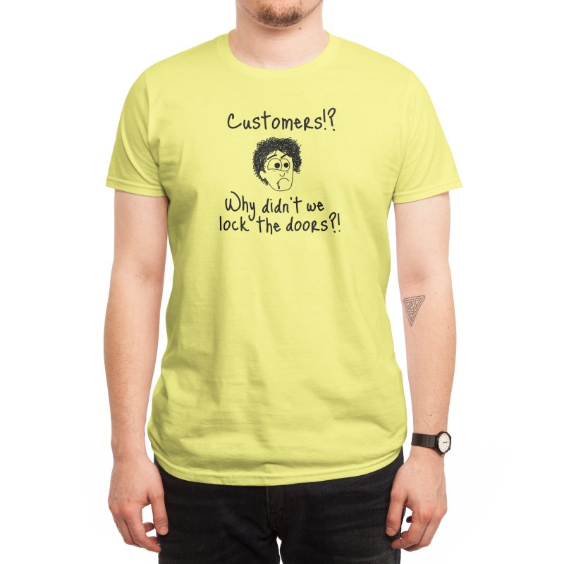 Black Books - Why didn't we lock the doors?! Men's T-Shirt by Adrienne Body