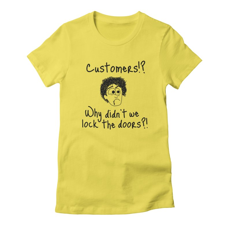Black Books - Why didn't we lock the doors?! Women's T-Shirt by Adrienne Body