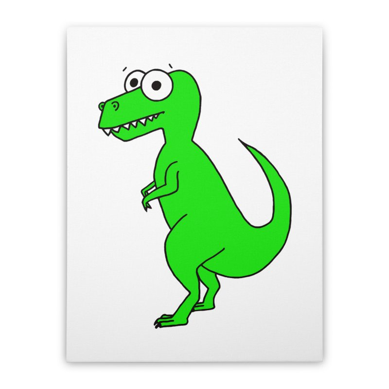 Cute T-Rex Home Stretched Canvas by Adrienne Body