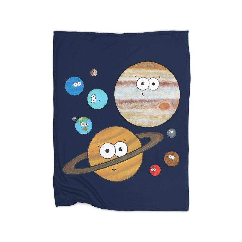 Cute Planets Home Fleece Blanket Blanket by Adrienne Body