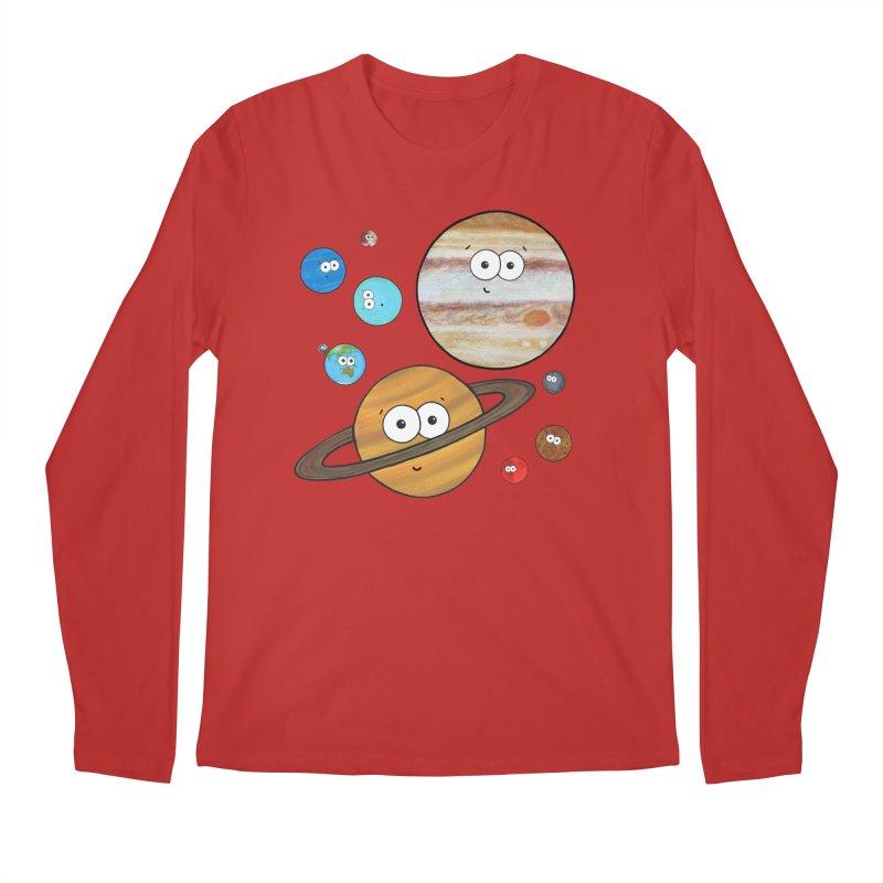 Cute Planets Men's Regular Longsleeve T-Shirt by Adrienne Body