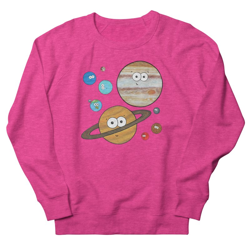 Cute Planets Women's French Terry Sweatshirt by Adrienne Body