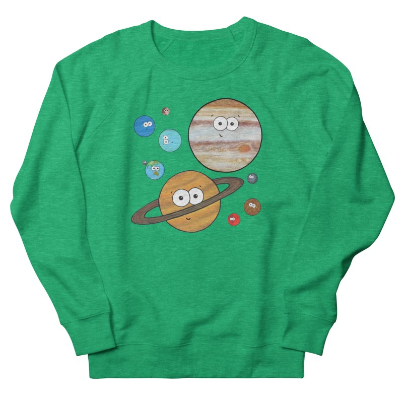 Cute Planets Men's French Terry Sweatshirt by Adrienne Body