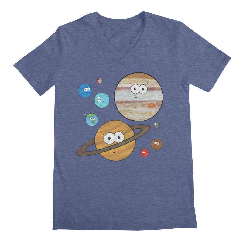 Cute Planets Men's Regular V-Neck by Adrienne Body