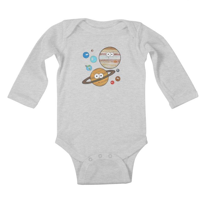 Cute Planets Kids Baby Longsleeve Bodysuit by Adrienne Body
