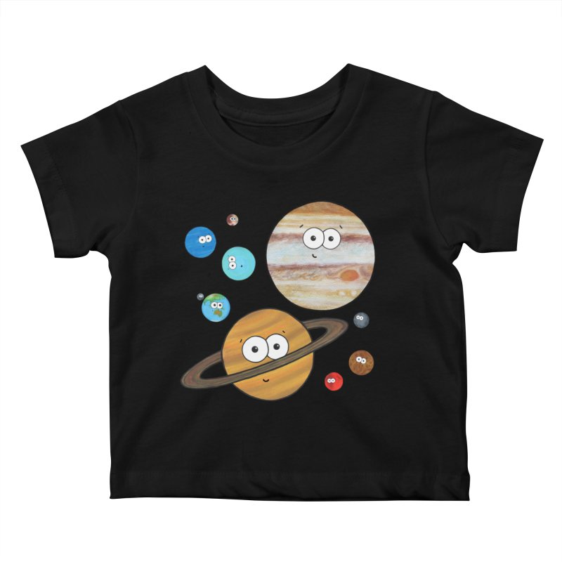 Cute Planets Kids Baby T-Shirt by Adrienne Body