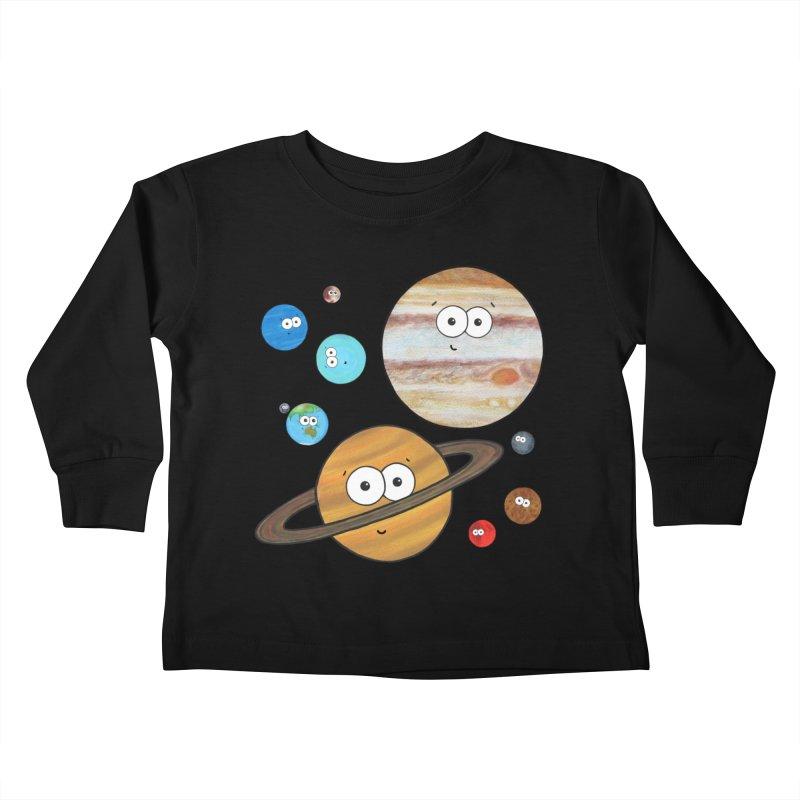 Cute Planets Kids Toddler Longsleeve T-Shirt by Adrienne Body