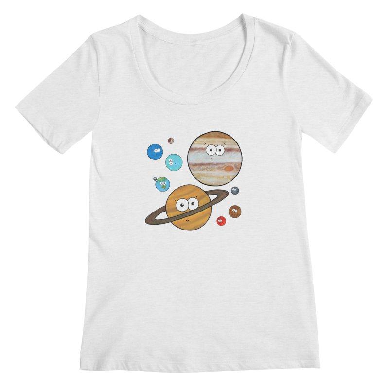 Cute Planets Women's Regular Scoop Neck by Adrienne Body