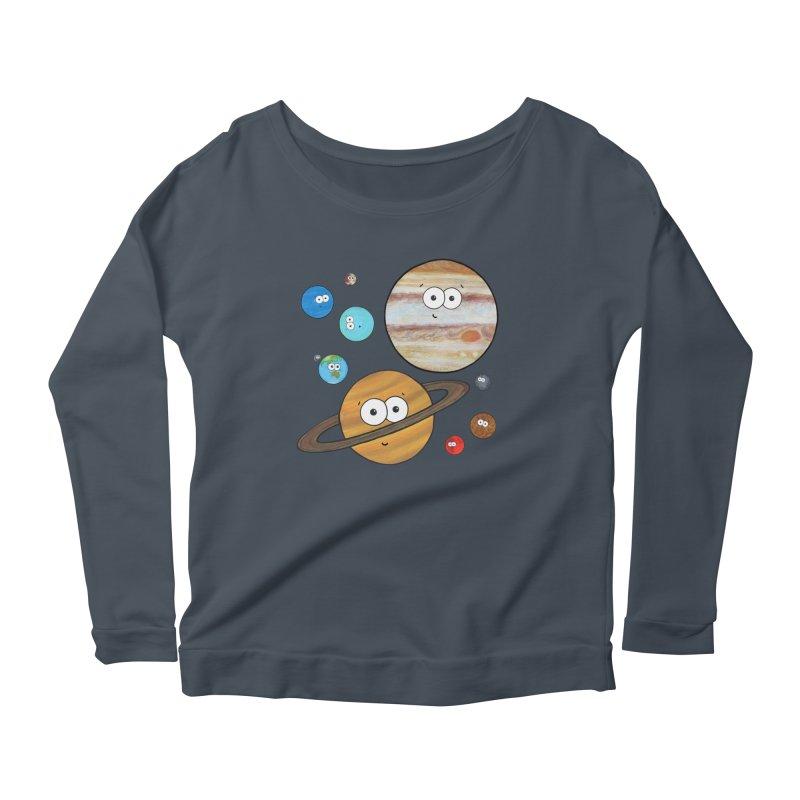 Cute Planets Women's Scoop Neck Longsleeve T-Shirt by Adrienne Body