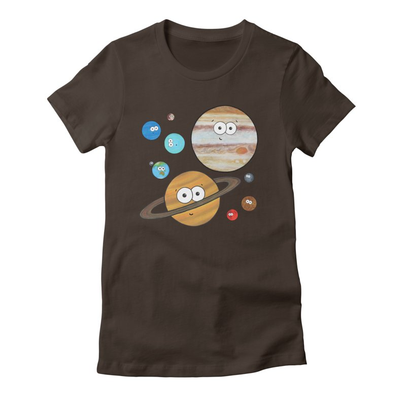 Cute Planets Women's Fitted T-Shirt by Adrienne Body