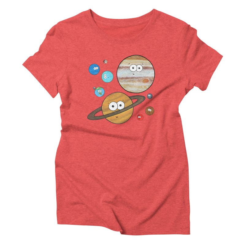 Cute Planets Women's Triblend T-Shirt by Adrienne Body
