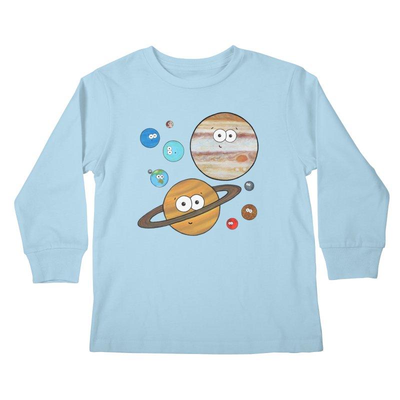 Cute Planets Kids Longsleeve T-Shirt by Adrienne Body