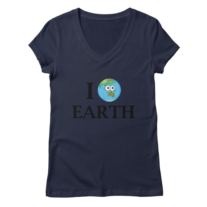 I Heart Earth Women's Regular V-Neck by Adrienne Body