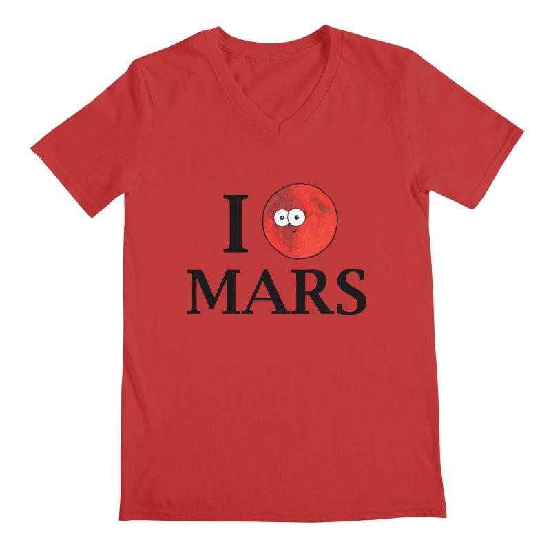 I Heart Mars Men's Regular V-Neck by Adrienne Body