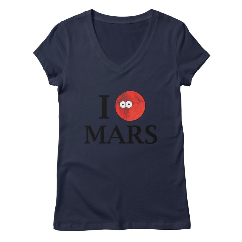 I Heart Mars Women's Regular V-Neck by Adrienne Body