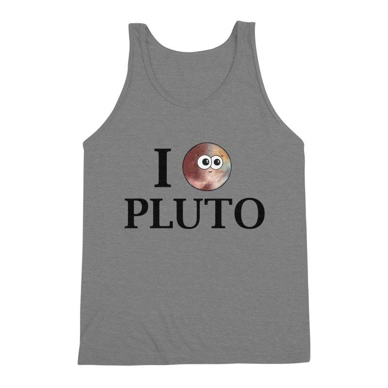 I Heart Pluto Men's Triblend Tank by Adrienne Body