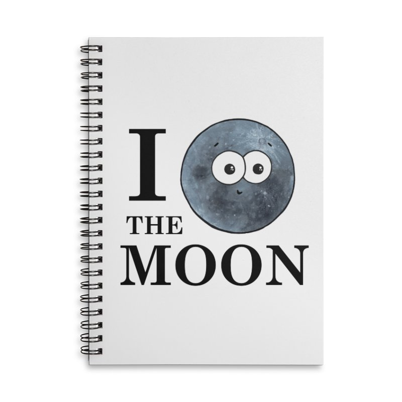 I Heart The Moon Accessories Lined Spiral Notebook by Adrienne Body