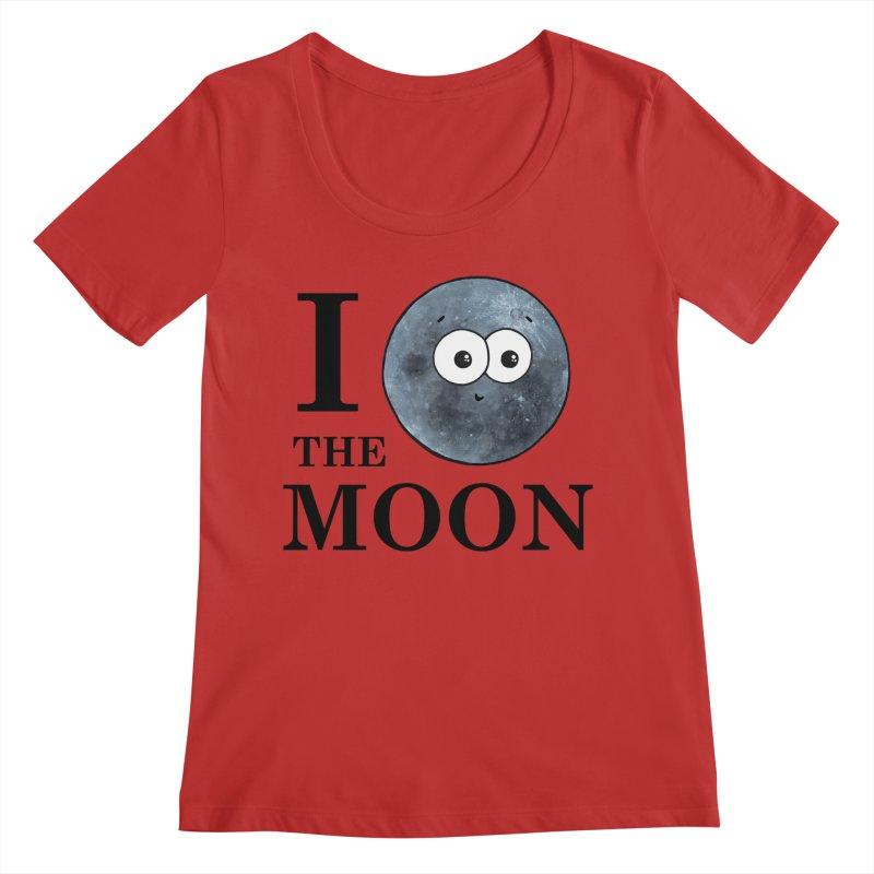 I Heart The Moon Women's Regular Scoop Neck by Adrienne Body