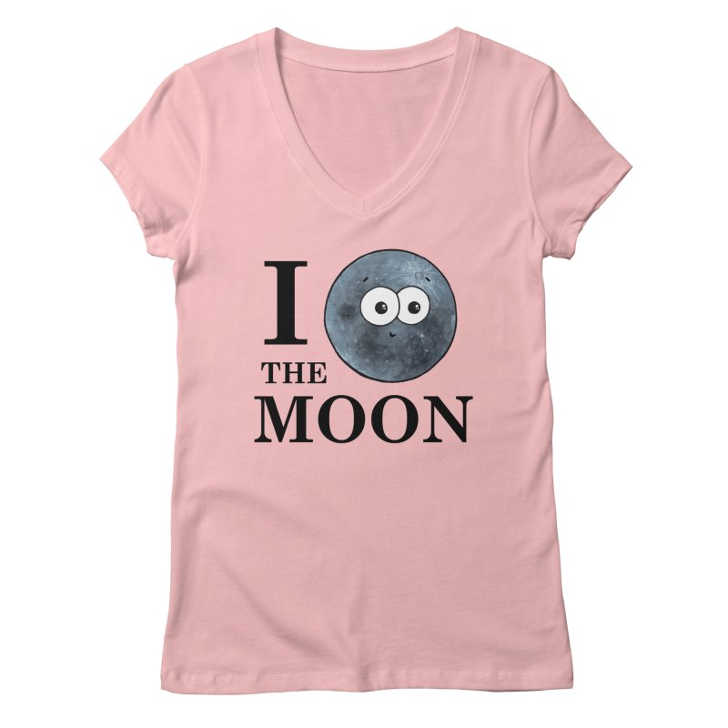 I Heart The Moon Women's Regular V-Neck by Adrienne Body