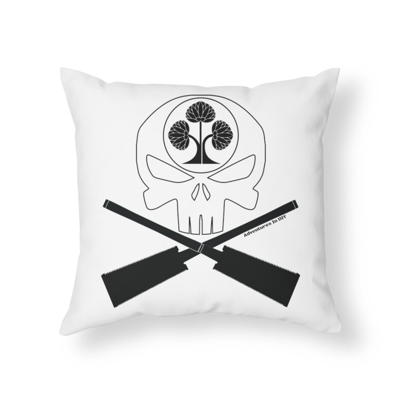 Skull and Ryoba Crossbones Home Throw Pillow by Adventures In DIY-Stuff 4 Craftspeople