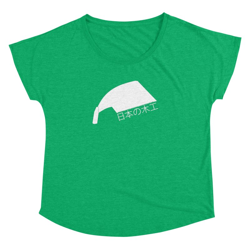 Japanese Woodworking - Whaleback Saw - White Logo Women's Dolman Scoop Neck by Adventures In DIY-Stuff 4 Craftspeople
