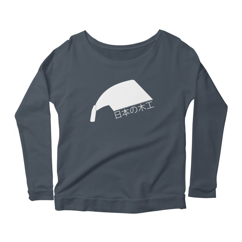 Japanese Woodworking - Whaleback Saw - White Logo Women's Scoop Neck Longsleeve T-Shirt by Adventures In DIY-Stuff 4 Craftspeople