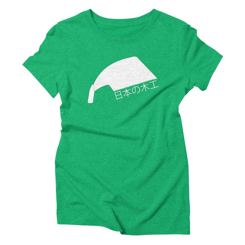 Japanese Woodworking - Whaleback Saw - White Logo Women's Triblend T-Shirt by Adventures In DIY-Stuff 4 Craftspeople
