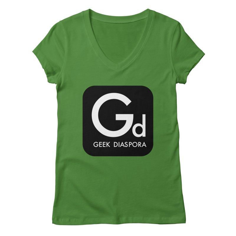 Geek Diaspora Women's V-Neck by afrogeek's Artist Shop