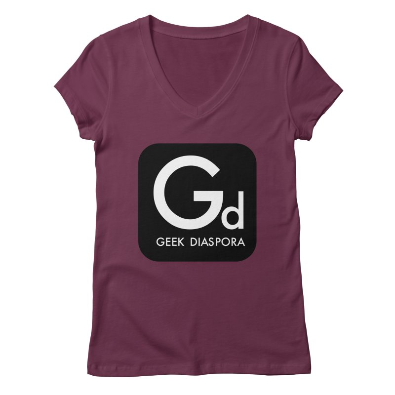 Geek Diaspora Women's Regular V-Neck by afrogeek's Artist Shop