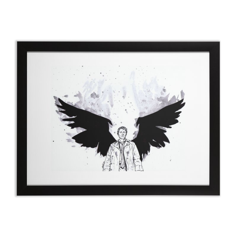 Castiel Wings Home Framed Fine Art Print by Afro Triangle's