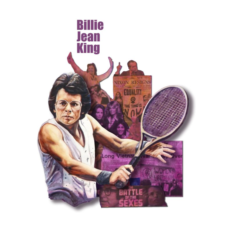 Billie Jean King Men's V-Neck by Afro Triangle's