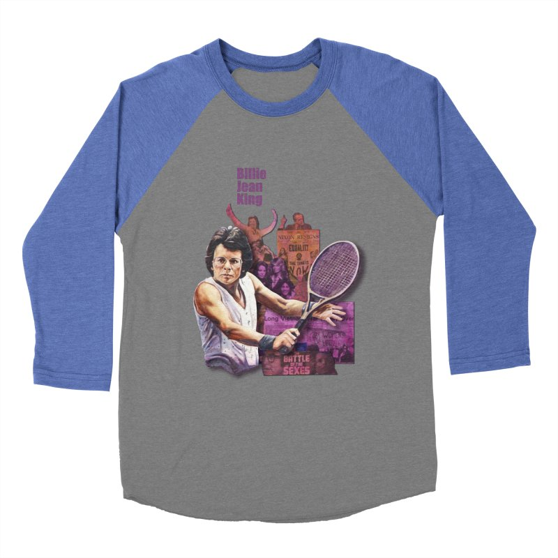 Billie Jean King Men's Baseball Triblend T-Shirt by Afro Triangle's