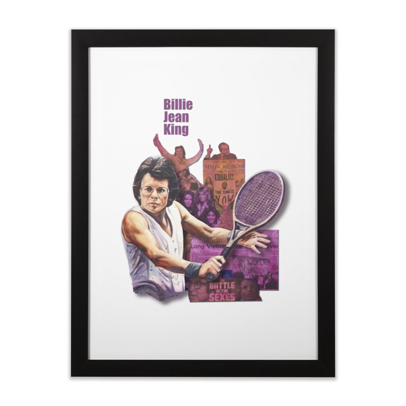 Billie Jean King Home Framed Fine Art Print by Afro Triangle's