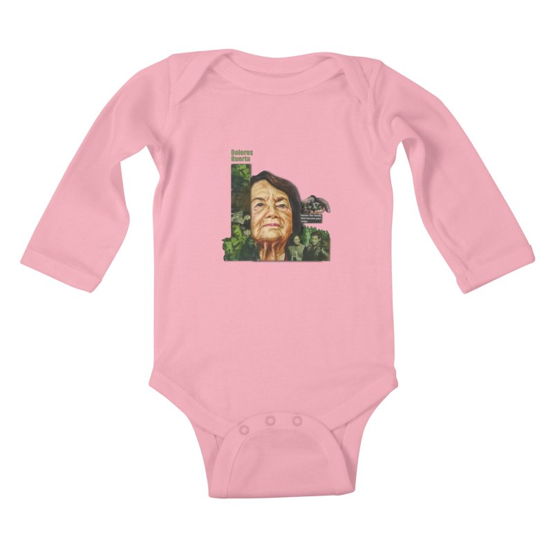 Dolores Huerta Kids Baby Longsleeve Bodysuit by Afro Triangle's
