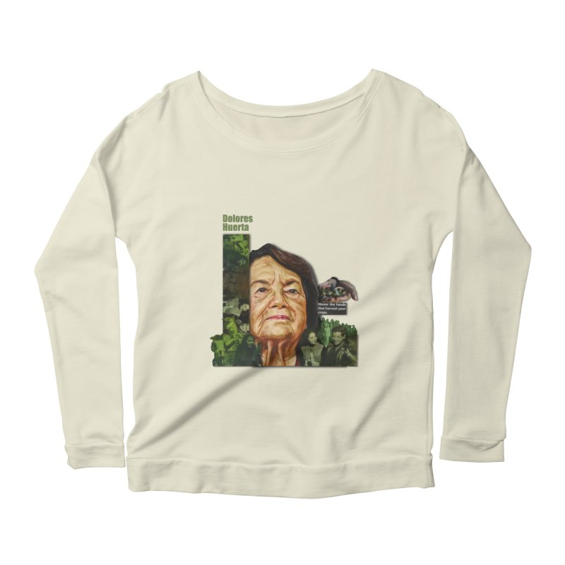 Dolores Huerta Women's Longsleeve Scoopneck  by Afro Triangle's
