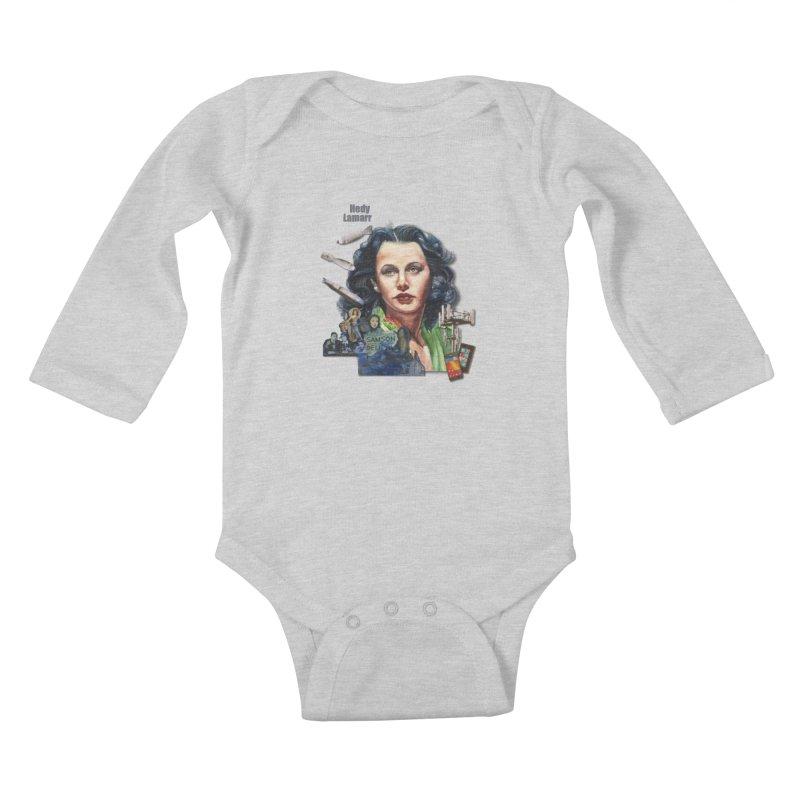 Hedy Lamarr Kids Baby Longsleeve Bodysuit by Afro Triangle's