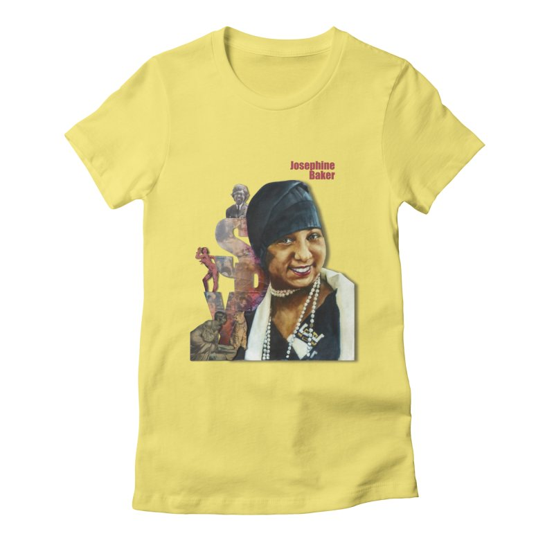 Josephine Baker in Women's Fitted T-Shirt Light Yellow by Afro Triangle's