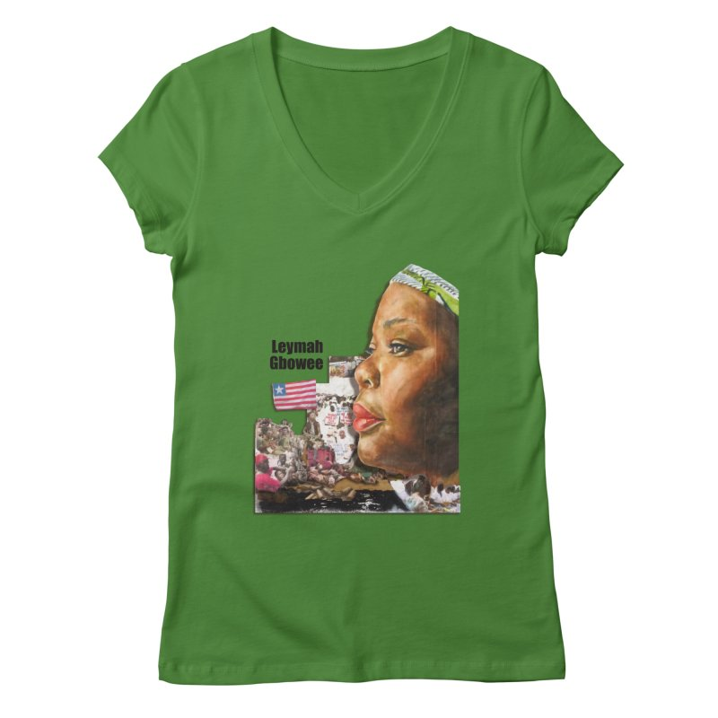 Leymah Gbowee  Remix in Women's V-Neck Leaf by Afro Triangle's