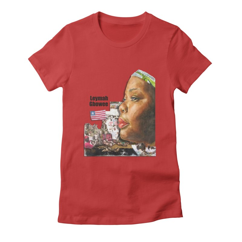 Leymah Gbowee  Remix in Women's Fitted T-Shirt Red by Afro Triangle's