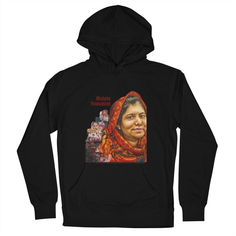 Malala Yousafzai in Women's French Terry Pullover Hoody Black by Afro Triangle's