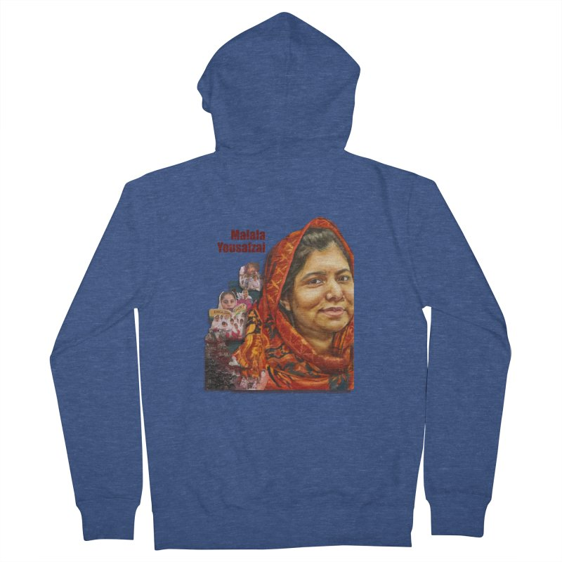 Malala Yousafzai Men's French Terry Zip-Up Hoody by Afro Triangle's