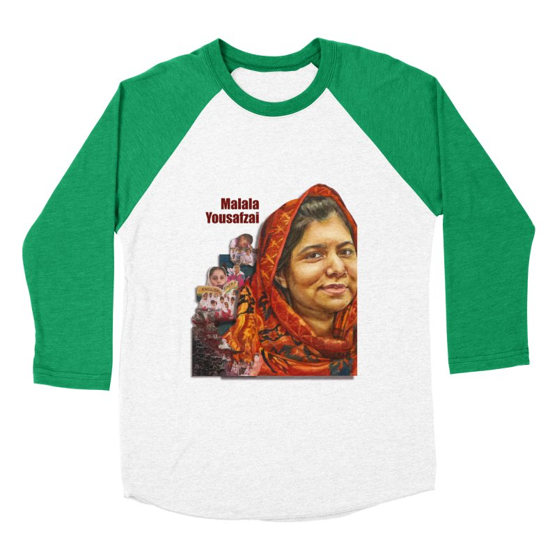 Malala Yousafzai Women's Baseball Triblend T-Shirt by Afro Triangle's