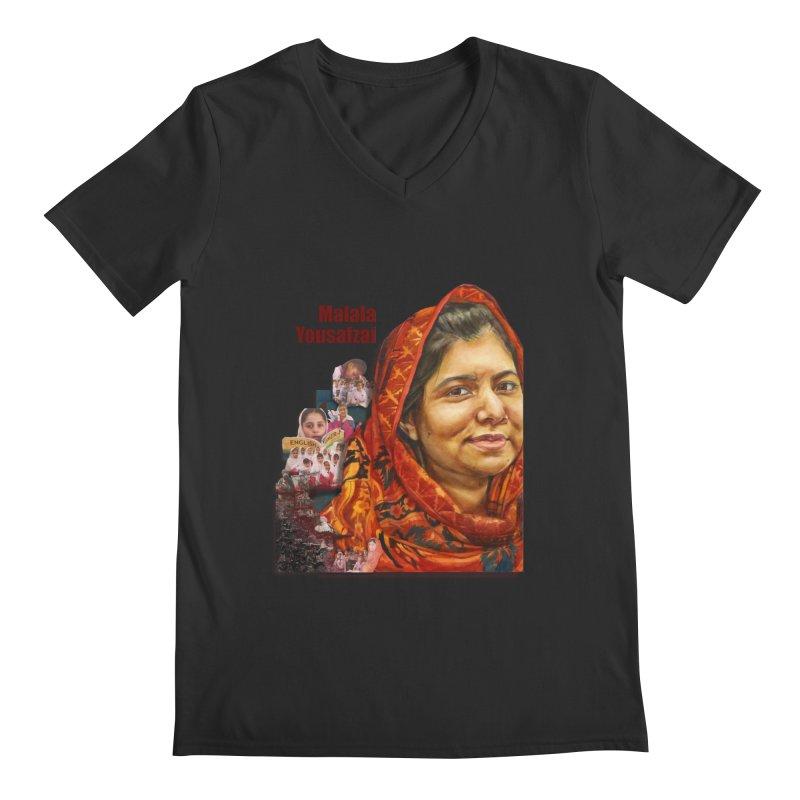 Malala Yousafzai Men's Regular V-Neck by Afro Triangle's