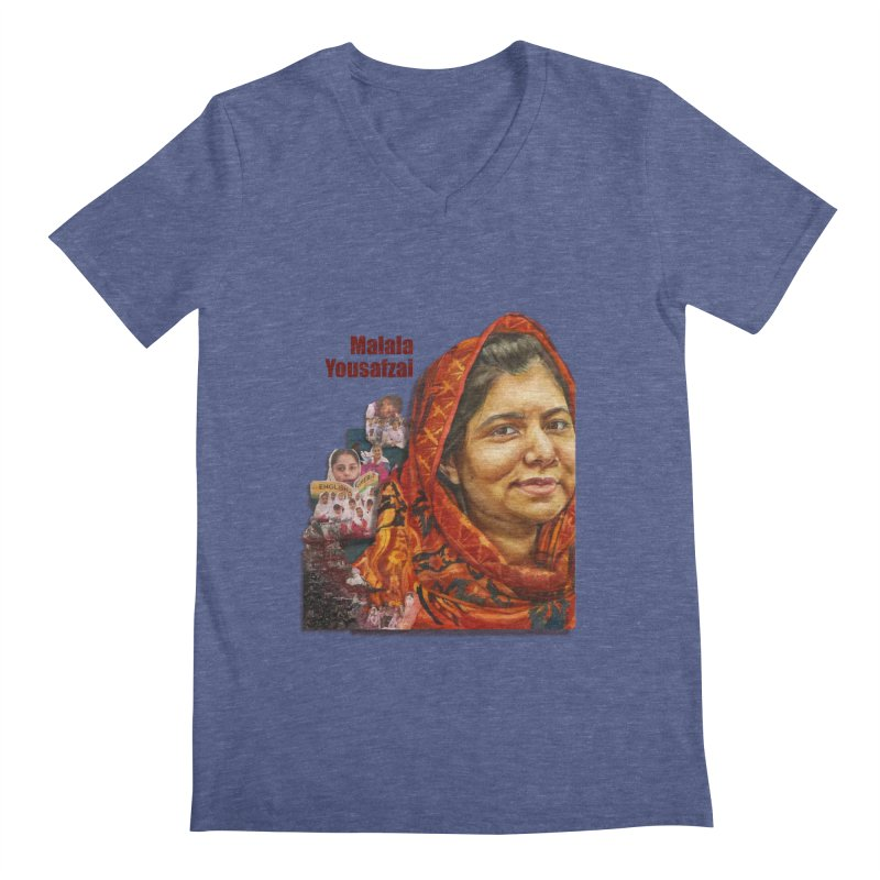 Malala Yousafzai Men's V-Neck by Afro Triangle's