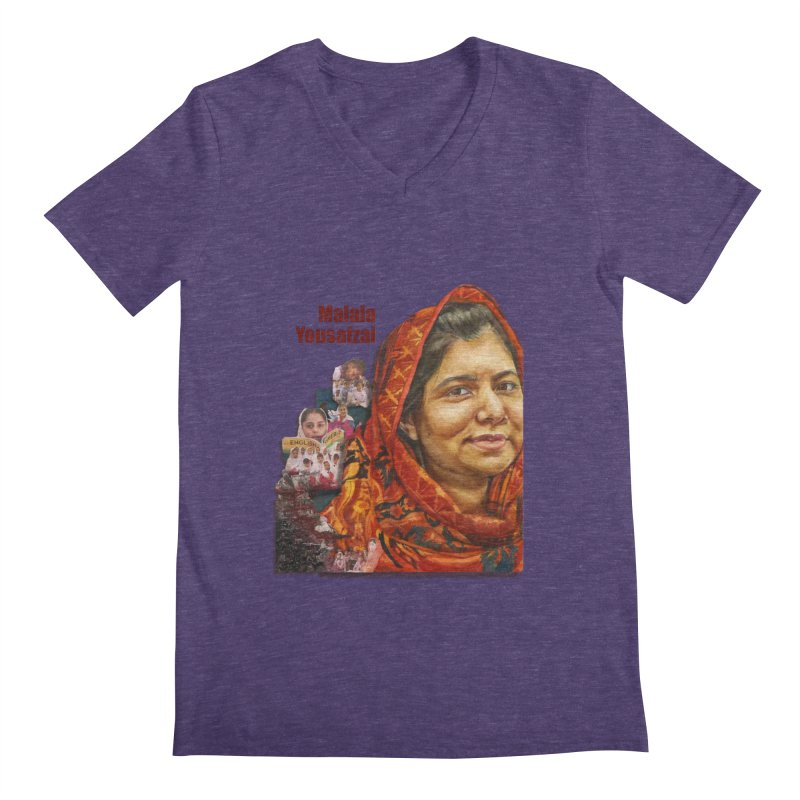 Malala Yousafzai Men's V-Neck by Afro Triangle's