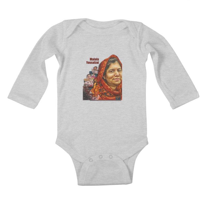 Malala Yousafzai Kids Baby Longsleeve Bodysuit by Afro Triangle's