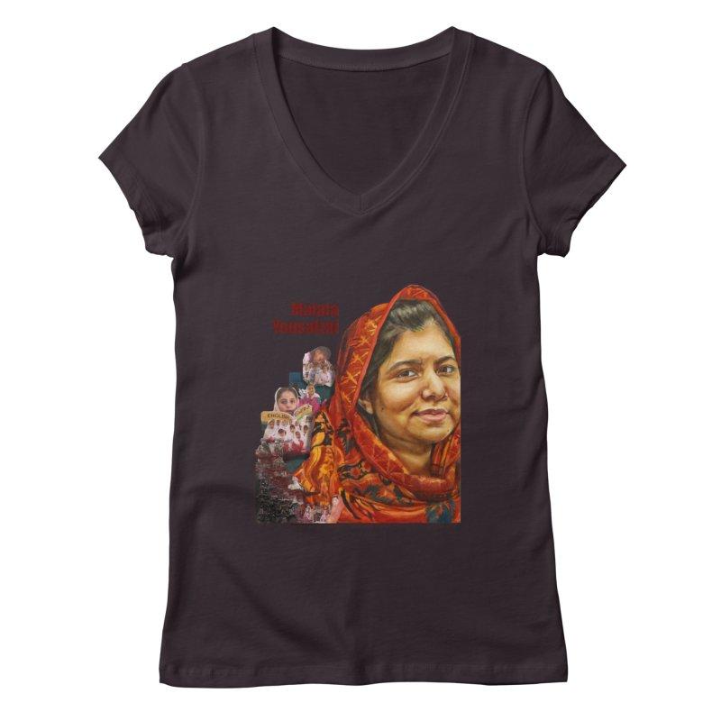 Malala Yousafzai Women's Regular V-Neck by Afro Triangle's