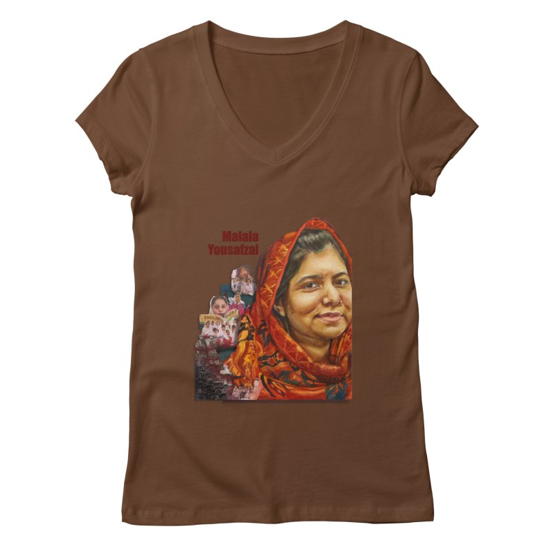 Malala Yousafzai Women's Regular V-Neck by Afro Triangle's